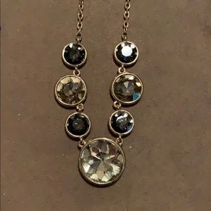 Gold w/Black & Clear Color Stones Necklace